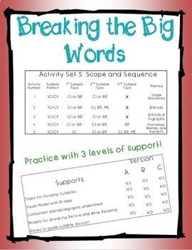 Breaking the Big Words: Syllable Division Activity Set 5