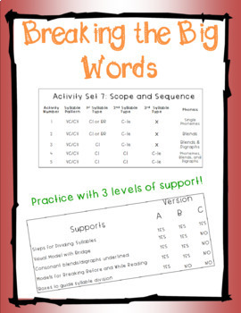 Breaking the Big Words: Syllable Division Activity Set 7 (VC/CV - Consonant-le)