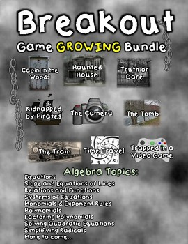 Breakout Escape Room GROWING Game Bundle Algebra Topics