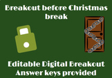 Holiday Digital Breakout- Editable