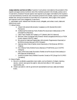 Mexico Government and Citizen Participation Fact Sheet with Questions