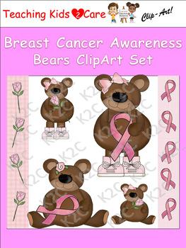 Breast Cancer Awareness Bears ClipArt Set