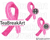 Breast Cancer Awareness Ribbon Frame feather Digital ClipArt SVG PNG EPS 752C