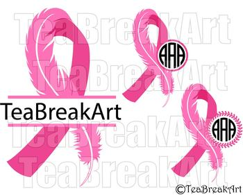 Breast Cancer Awareness Ribbon Frame Feather Digital Clipart Svg
