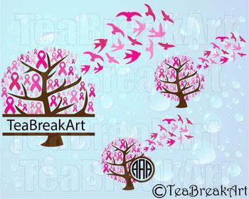 Breast Cancer Awareness Tree Ribbon bird flying Design Digital ClipArt 749C