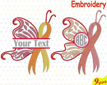 Breast Cancer Butterfly Ribbons Embroidery Machine digital file 4x4 5x7 hoop 78b