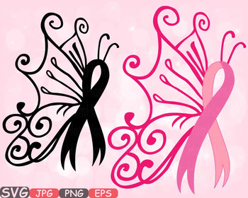 Breast Cancer Butterfly SVG swirl Props clipart Awareness