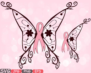 Breast Cancer Butterfly SVG swirl Props clipart Awareness ribbon survivor -514s