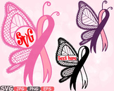 Breast Cancer Butterfly frame clipart Awareness autism ribbon Faith Hope 605s