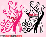 Breast Cancer Butterfly frame clipart Awareness autism ribbon Faith Hope 606s