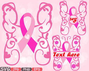 Breast Cancer Butterfly frame clipart props Awareness circle split hope 515s