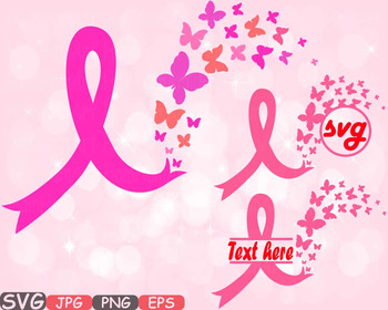 Breast Cancer Butterfly frame clipart props Awareness circ