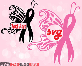 Breast Cancer Butterfly frame svg clipart Awareness autism ribbon survivor 545s