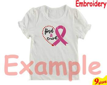 Breast Cancer Ribbon Embroidery Machine digital 4x4 5x7 hoop Stiches heart 99b