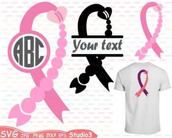 Breast Cancer Ribbon Silhouette clipart heart cure hope Pink Awareness svg 58sv