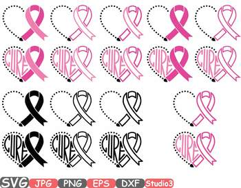 Breast Cancer Ribbon Silhouette clipart heart cure hope Pink Awareness svg 711s