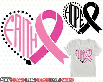 Breast Cancer Ribbon Silhouette clipart heart faith hope Pink Awareness svg 710s