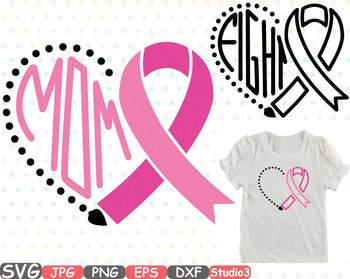 Breast Cancer Ribbon Silhouette clipart heart love fight Pink Awareness svg 709s