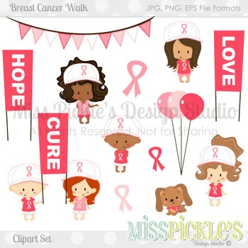 Breast Cancer Walk- Commercial Use Clipart Set