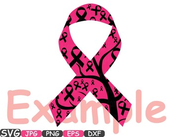 Breast Cancer awareness SVG clip art swirl Cutting ribbon day angel wings  -238S