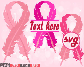 Breast Cancer birds Feathers SVG clipart Awareness circle split survivor -518s