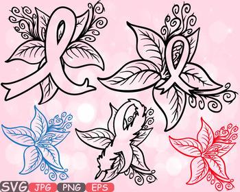 Breast Cancer flower SVG Props clipart Awareness autism ribbon survivor 543s