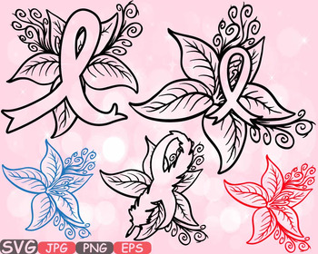 Breast Cancer flower SVG Props clipart Awareness autism ri