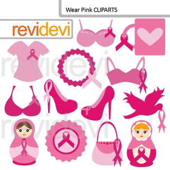 Breast cancer awareness clip art / Pink Ribbon Day clipart