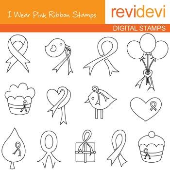 Breast cancer awareness, pink ribbon line art - blackline clip art