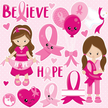 Breast cancer clipart commercial use, vector graphics, digital  - CL1028