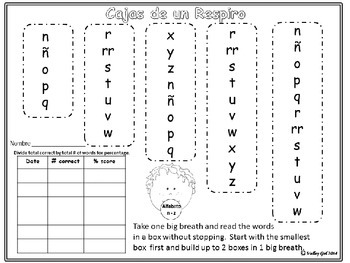 Breath Boxes Spanish Alphabet for automaticy of Letter Names and Sounds