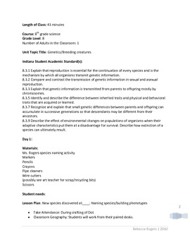Breeding creatures genetics Project with RUBRIC PDF format