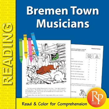 Bremen Town Musicians: Read & Color