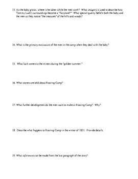 "Bret Harte's ""The Luck of Roaring Camp"" Worksheet (or Test) with Answer Key"