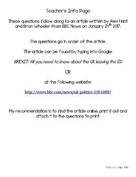 Brexit Web Quest Worksheet