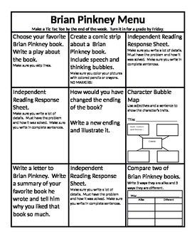 Brian Pinkney Menu and Reading Response Sheets
