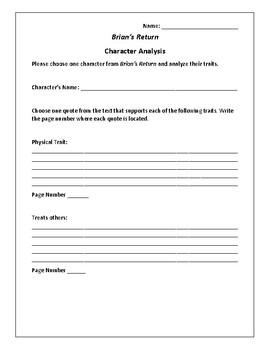 Brian's Return Character Analysis - Gary Paulsen