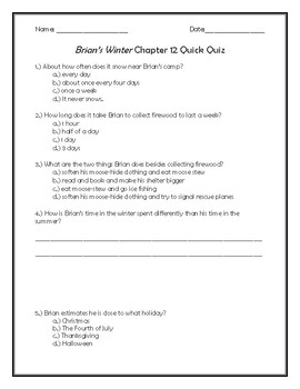 Brian's Winter Chapter 12 Quick Quiz