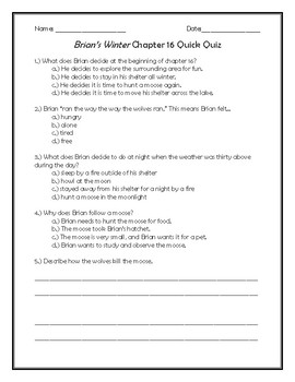 Brian's Winter Chapter 16 Quick Quiz