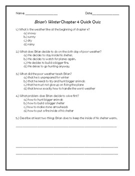 Brian's Winter Chapter 4 Quick Quiz