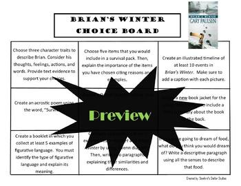 Brian's Winter Choice Board Novel Study Activities Menu Book Project