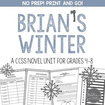 Brian's Winter Novel Unit for Grades 4-8 Common Core Aligned
