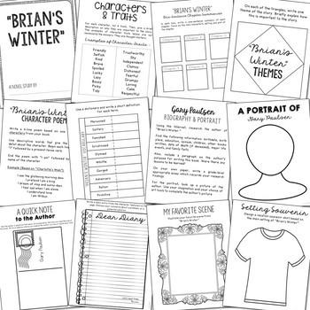 Brian's Winter Interactive Notebook Novel Unit Study Activities, Book Report
