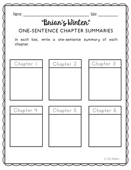 Brian's Winter Novel Unit Study Activities, Book Companion Worksheets, Project