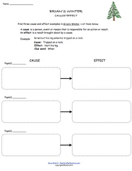 Novel Study Freebie for Brian's Winter - ELA Common Core ...