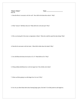 Brian's Winter, by G. Paulsen, Comprehension Questions