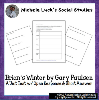 Brian's Winter by Gary Paulsen Unit Test Open Response & Short Answer