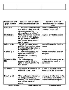 Brian's Winter by Gary Paulsen Vocab Activity Worksheet