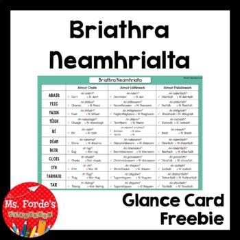 Briathra Neamhrialta Glance Card (Gaeilge)