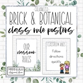 Brick & Botanical Galvanized Classroom Rules {Editable Posters}